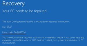 Recovery Error Code 0XC0000034